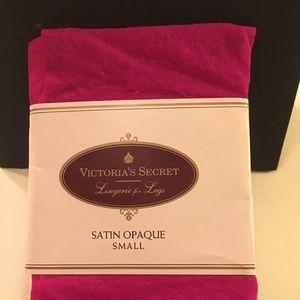 Victoria Secret Satin Opaque Fuchsia Tights. Sz SM